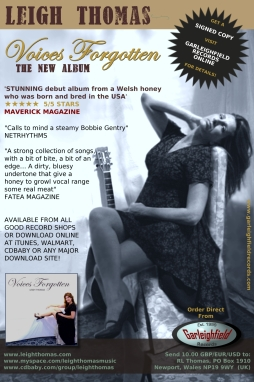 Maverick Magazine Billboard: Voices Forgotten, The New Album by Leigh Thomas.