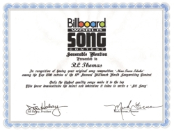 The Thomas's song 'Man From Idaho' receives Honorable mention in Billboard song contest.